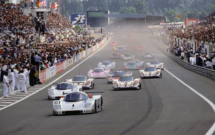 1989 Le Mans Sauber-Mercedes C9s lead the field