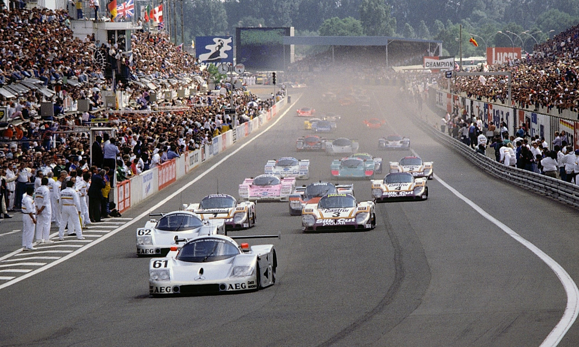 1989 Le Mans Sauber-Mercedes C9s lead the field