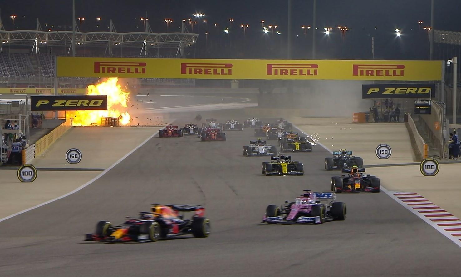 F1 Review Bahrain 2020 Romain Grosjean crash (Image F1 via facebook)