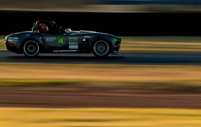 Maximo Racing's Brackdraft roadster at dusk, the team finished 8th overall.