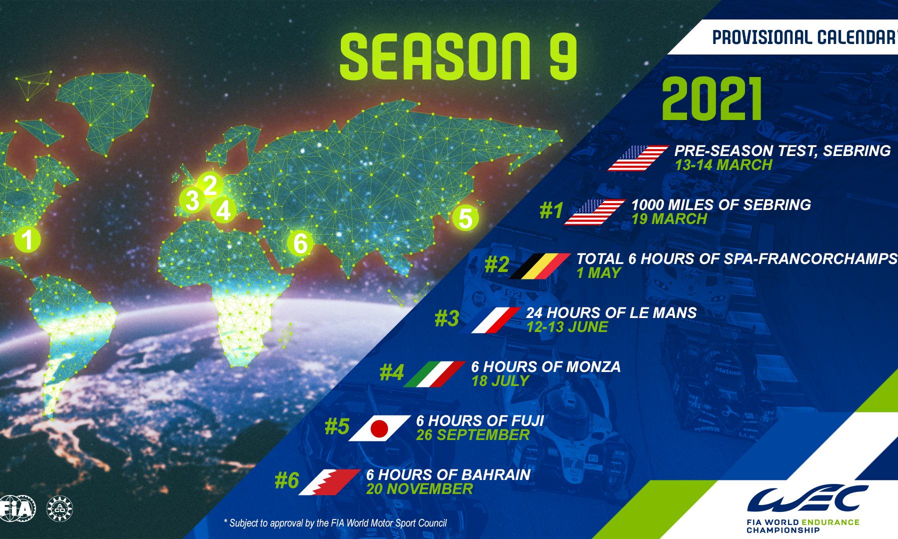 2021 FIA WEC Calendar