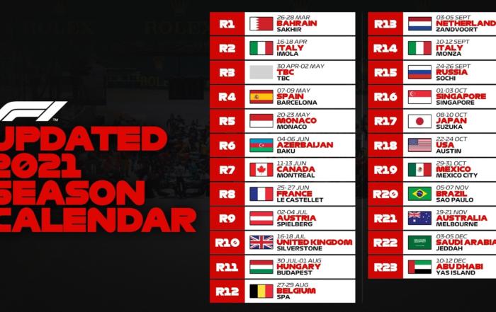 2021 Formula 1 Calendar