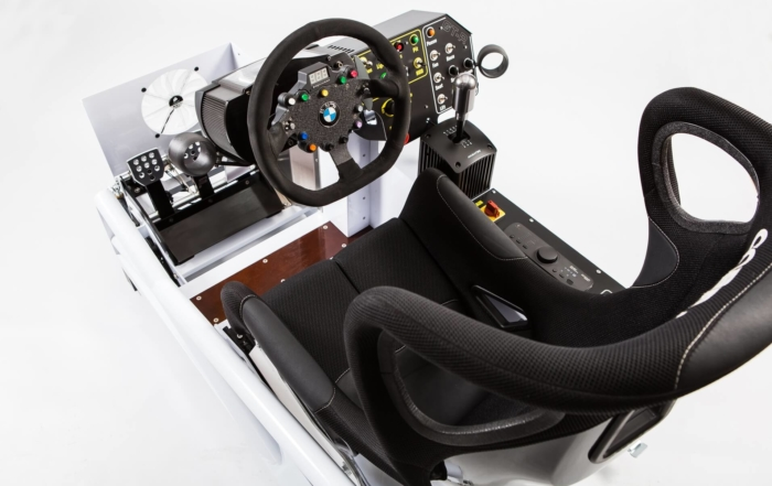 The sim racing rig Len built to race with in the local Sports and GT iRacing series.