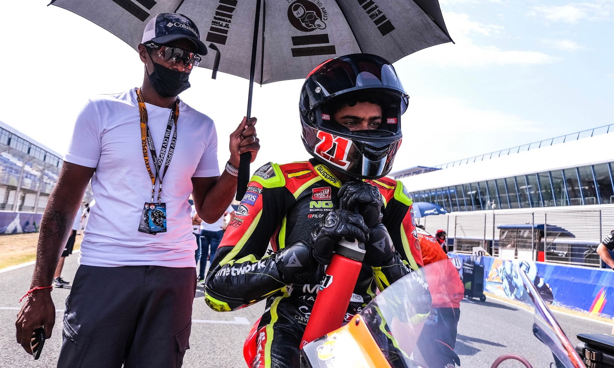 Arushen Moodley with his son on the grid.