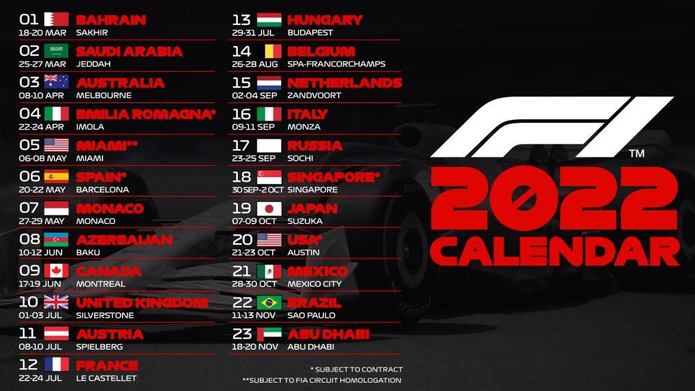 2022 F1 Calendar Announced