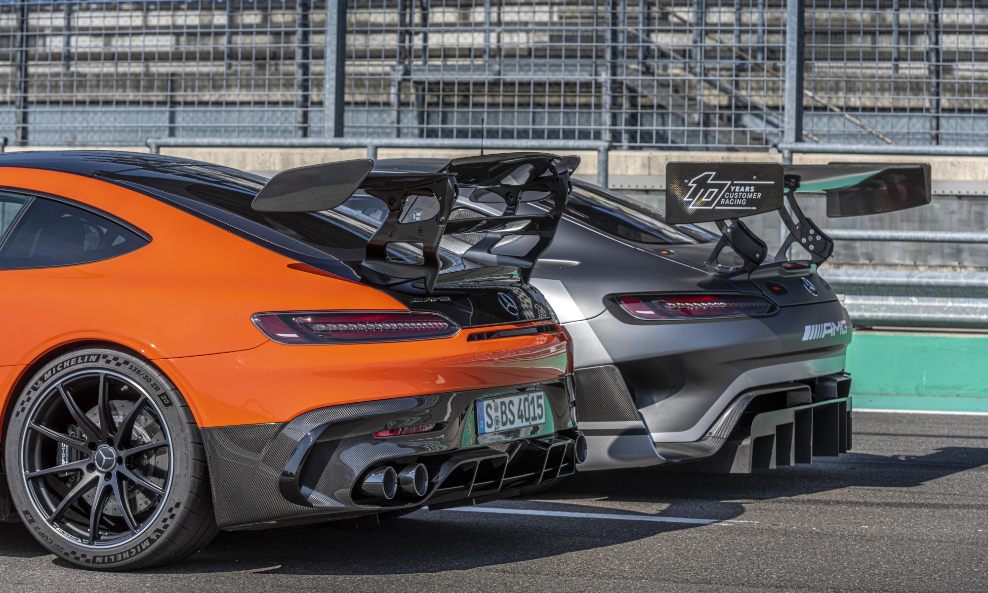 Mercedes-AMG GT Black Series with GT3 racer rear