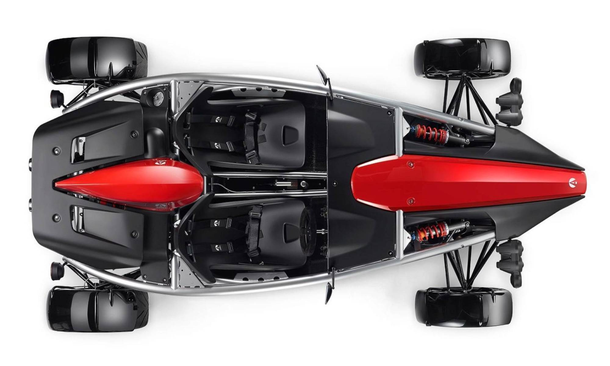 A lesser seen plan view of the small sportscar