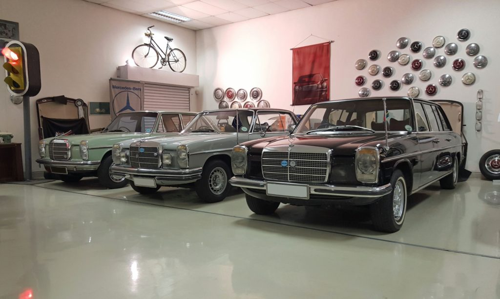 A trio of W114/5 models in long-wheelbase, coupe and sedan body styles