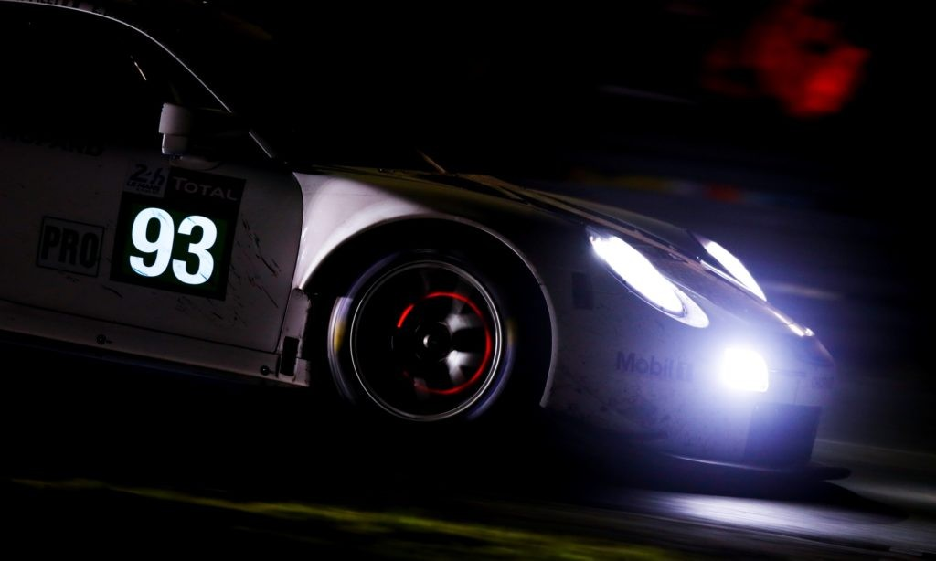 A typical 24 Hours of Le Mans night-time shot with glowing brake discs.