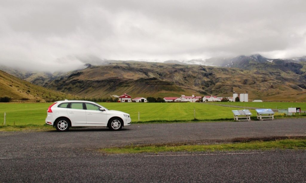 A typical Icelandic town with a big Volcano in the back yard