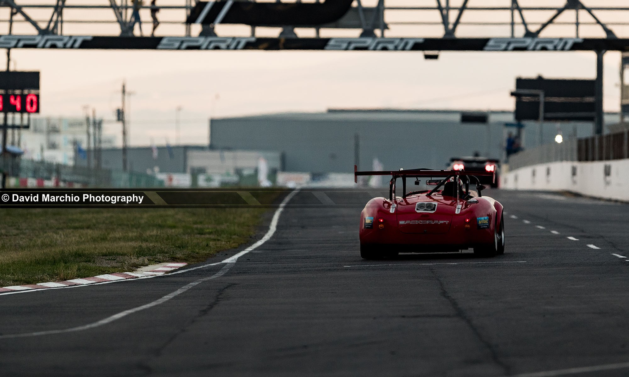The Backdraft Roaster of team Backdraft racing, accelerates down the main straight of Killarney Internation Raceway