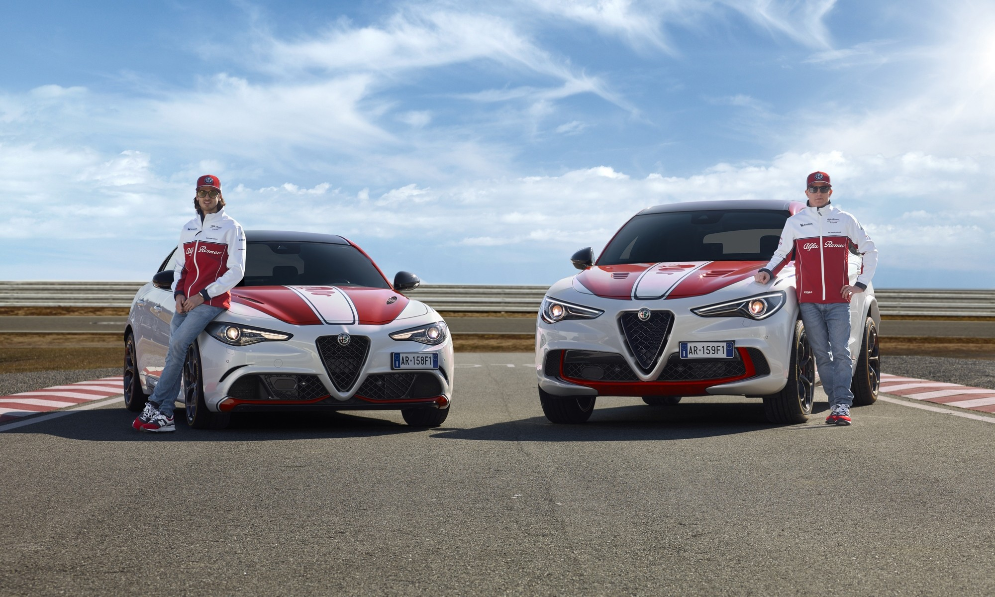 Alfa Romeo Racing models with F1 drivers