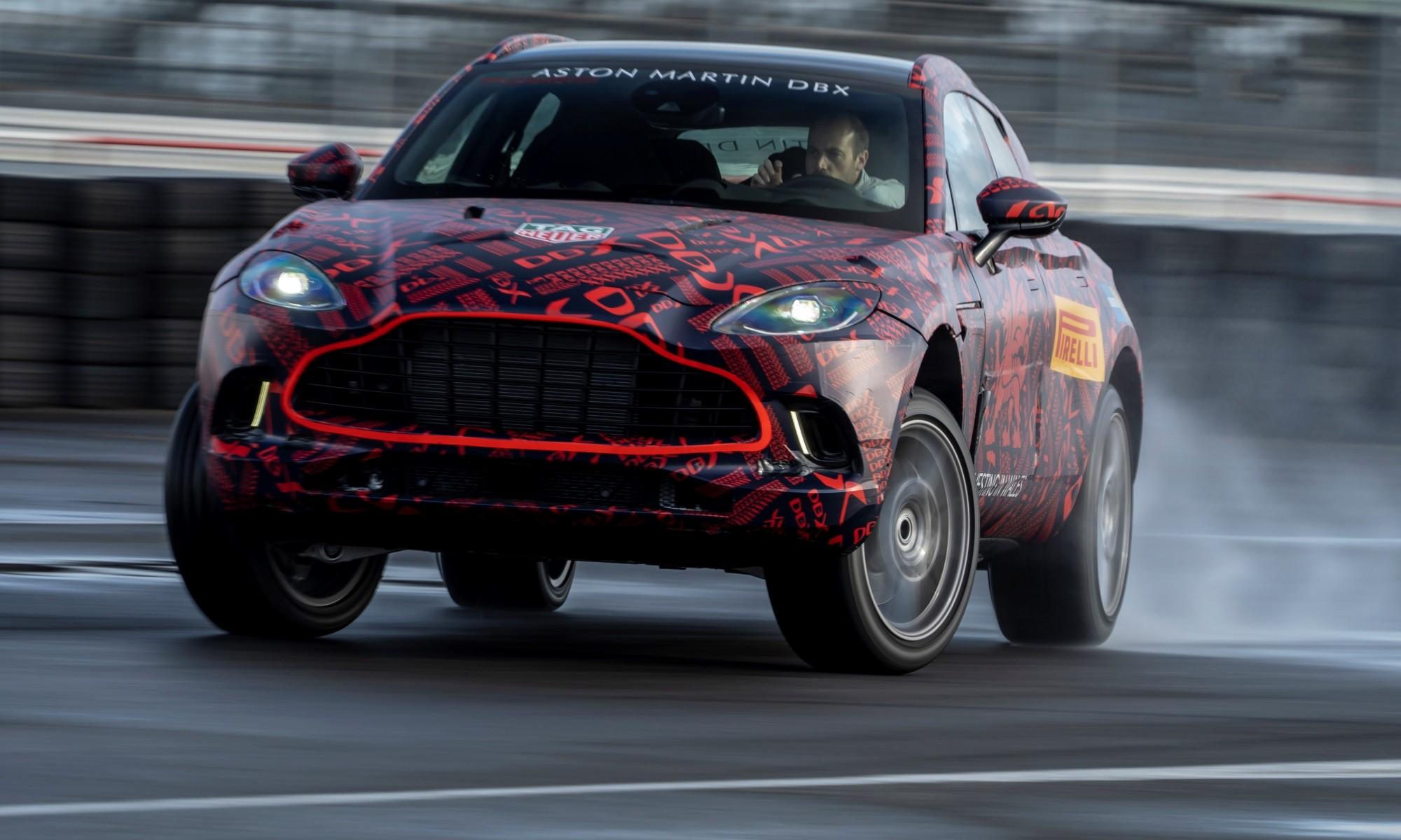 Aston Martin SUV sideways