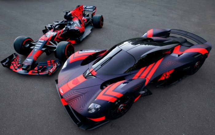 Aston Martin Valkyrie and F1 car