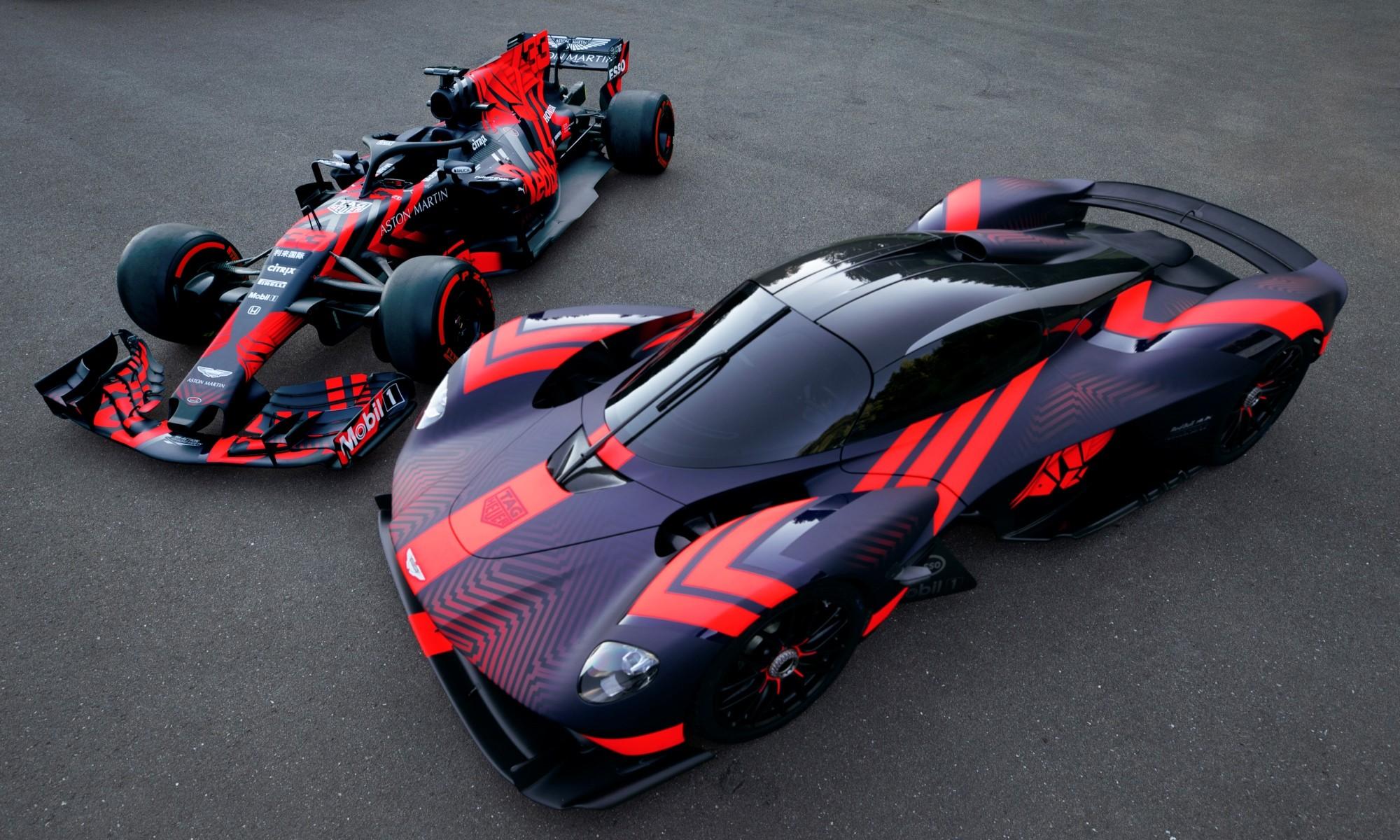 Aston Martin Valkyrie and F1 car