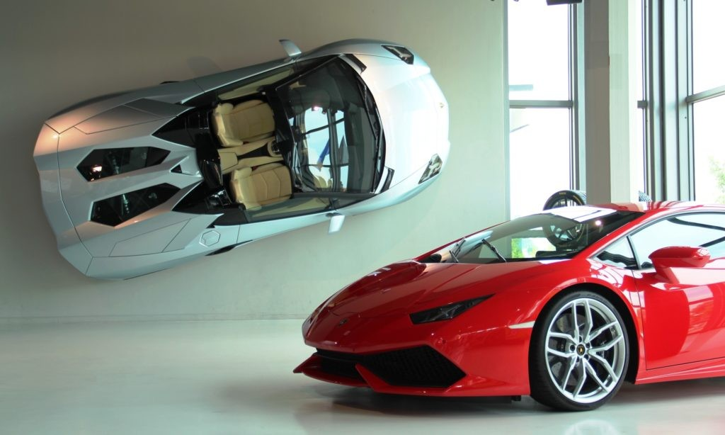 Lamborghini Aventador S and Huracan at the Lamborghini museum