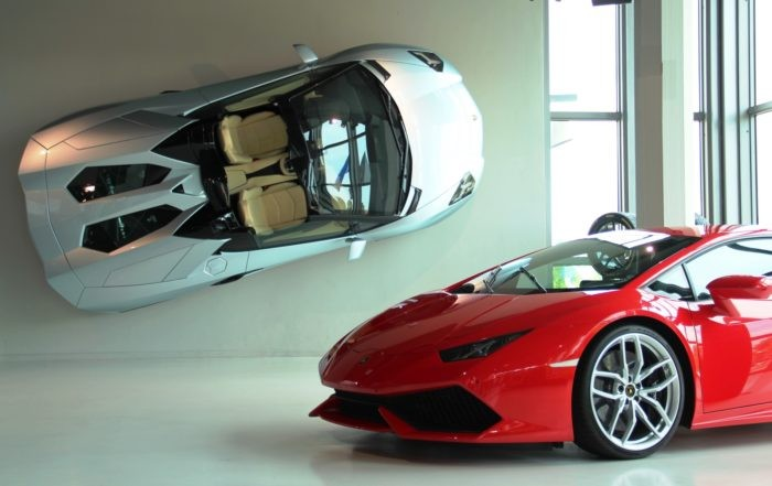Lamborghini Aventador S and Huracan at the Lamborghini museum