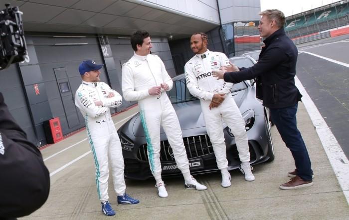 Beat the Boss (L-R Bottas, Wolff and Hamilton)