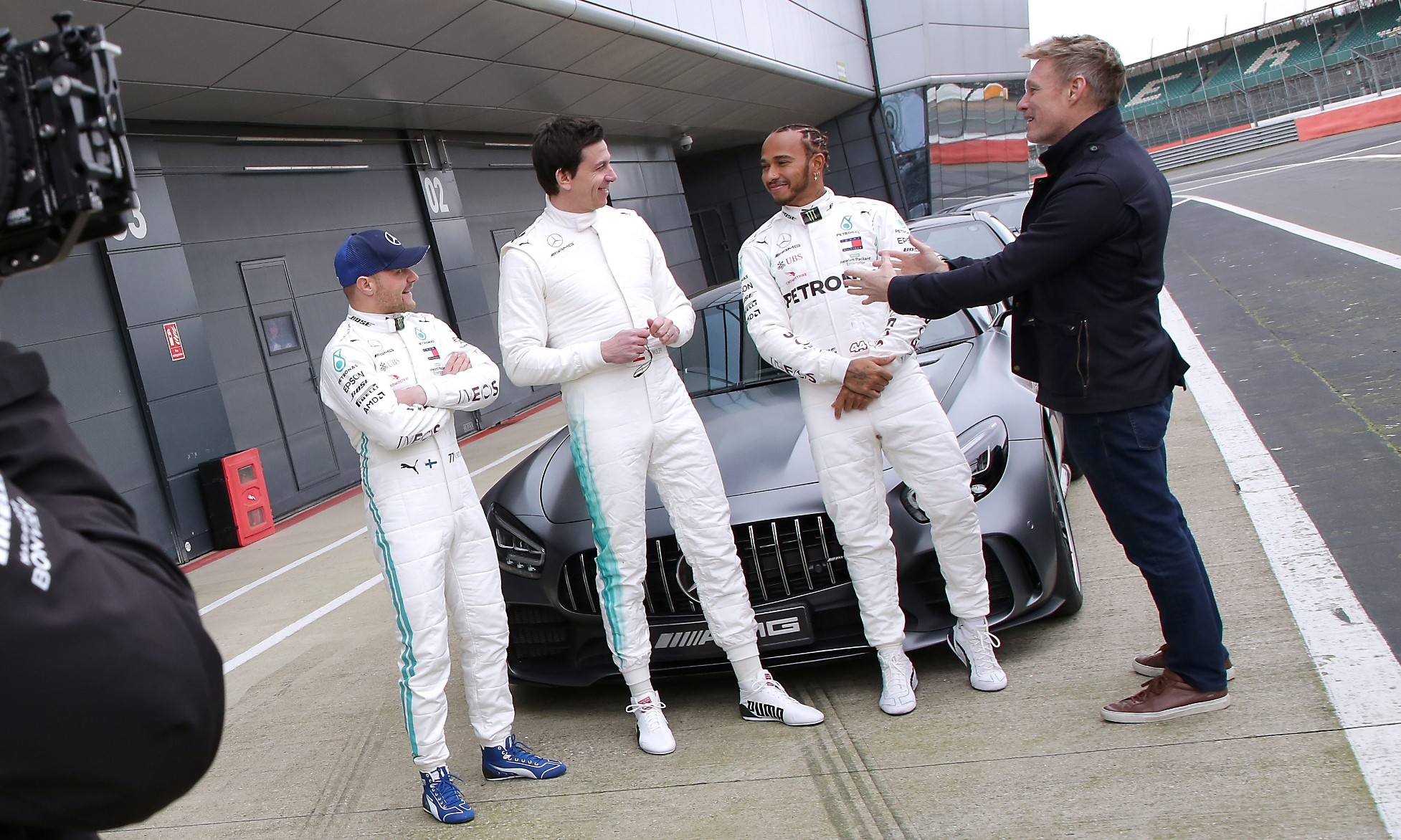 Beat the Boss (L-R Bottas, Wolff and Hamilton)
