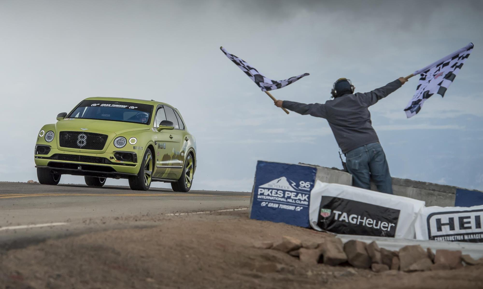 Bentley Bentayga Pikes Peak finish line