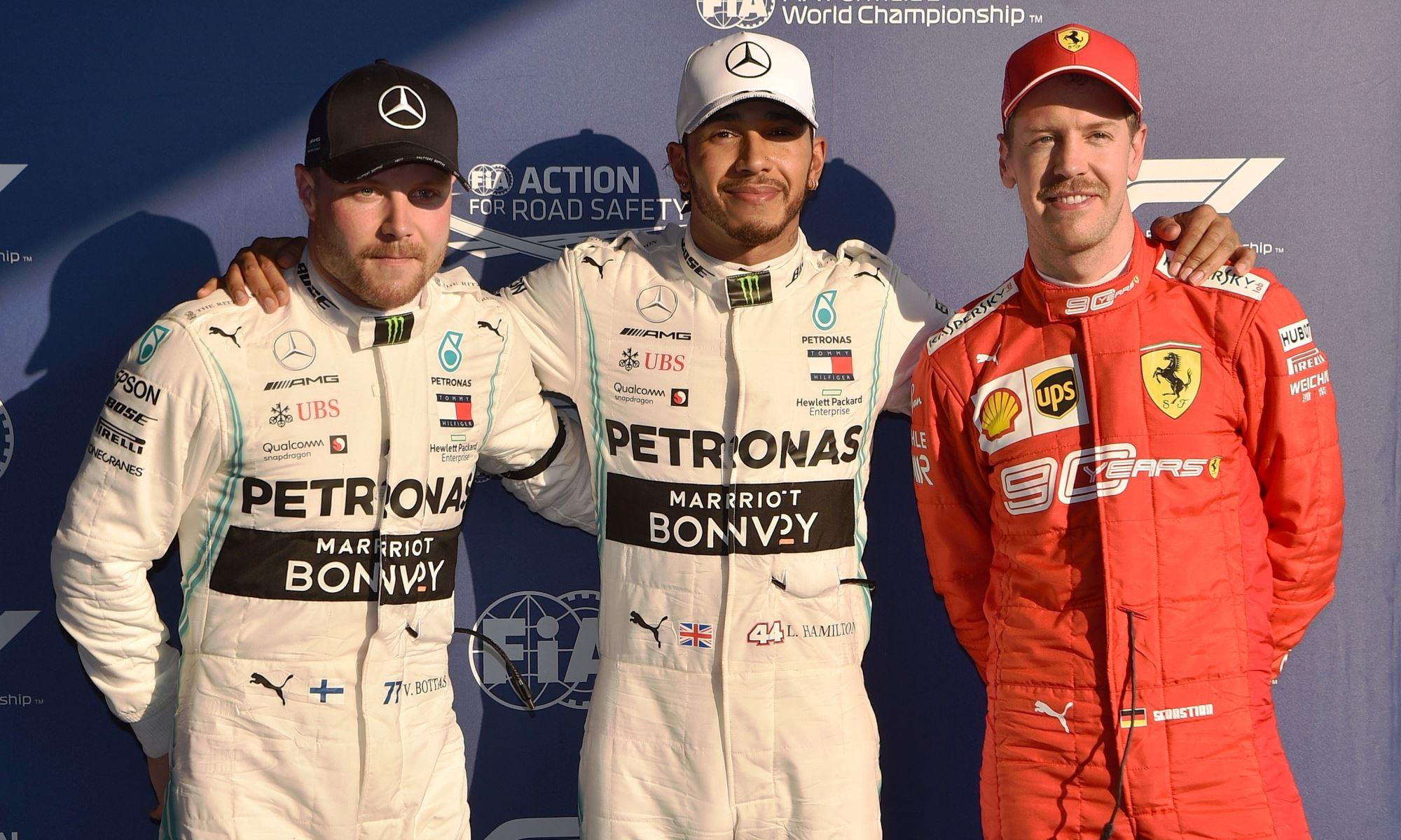 Bottas, Hamilton and Vettel