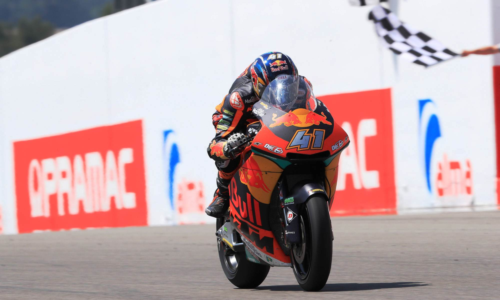 Brad Binder held off the competition to claim his first win the Moto2 class