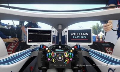 Cockpit view while in the pit garage