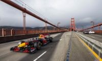 Crossing the Golden Gate bridge at the start of road trip USA
