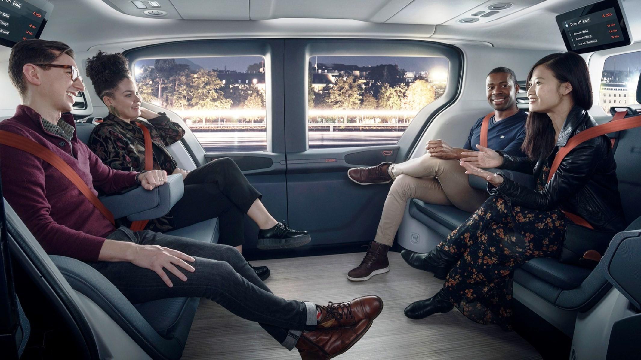 Driverless GM Cruise Origin cabin
