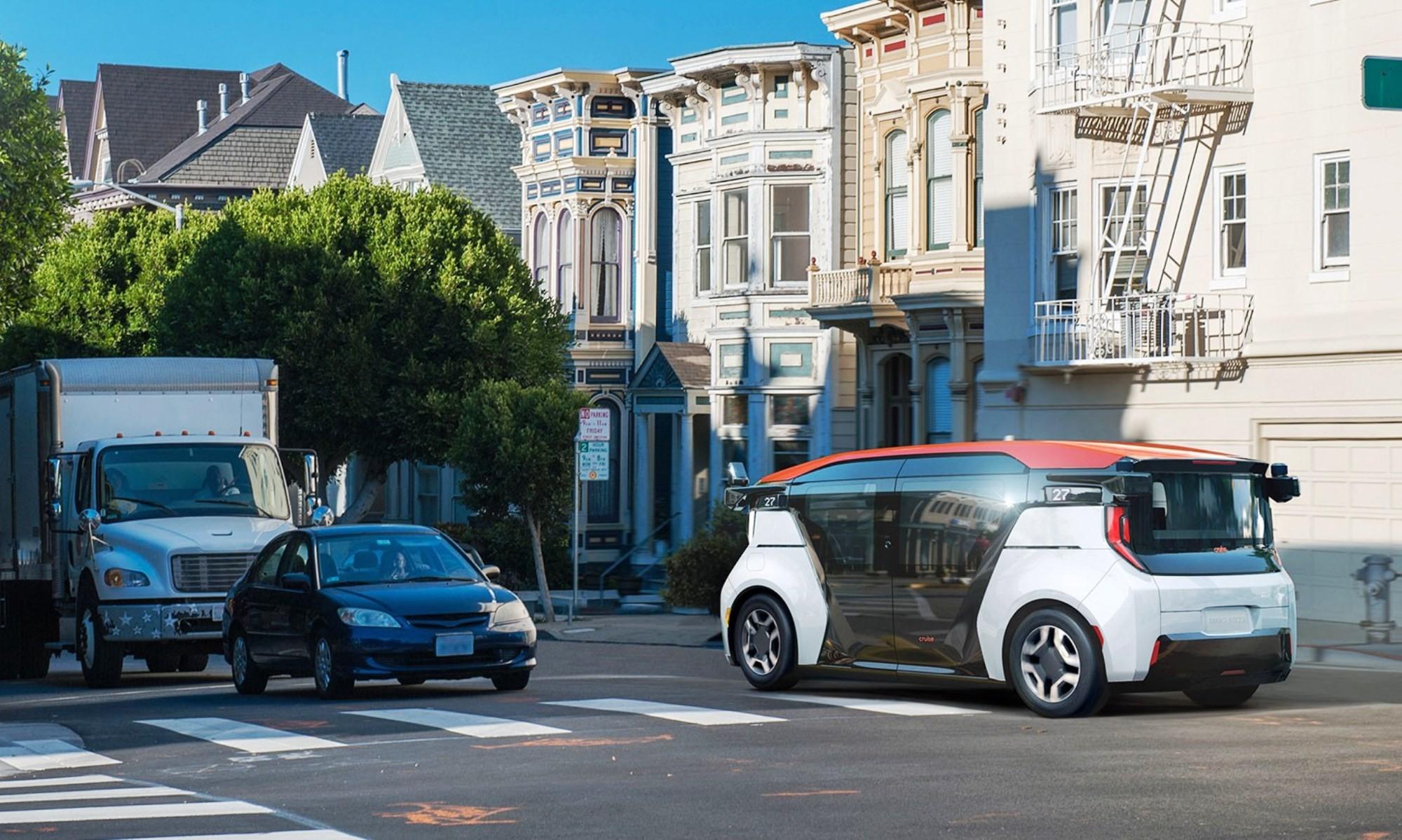 Driverless GM Cruise Origin on road