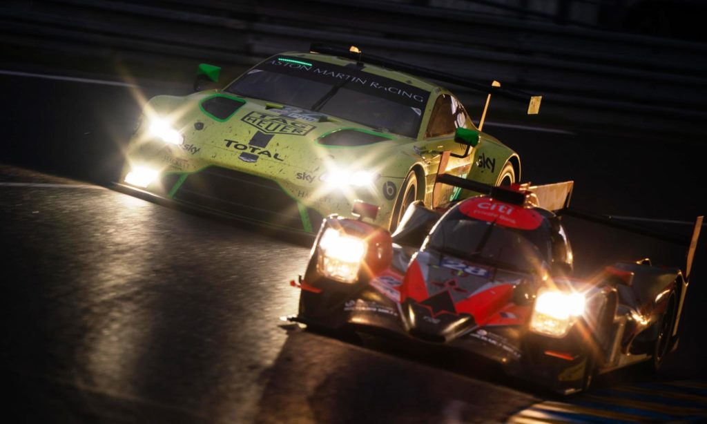 GT cars and prototypes battle throughout the day and night at Le Mans