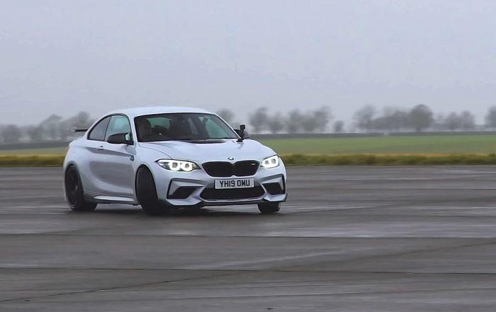 German Compact Drag Race BMW M2 sideways