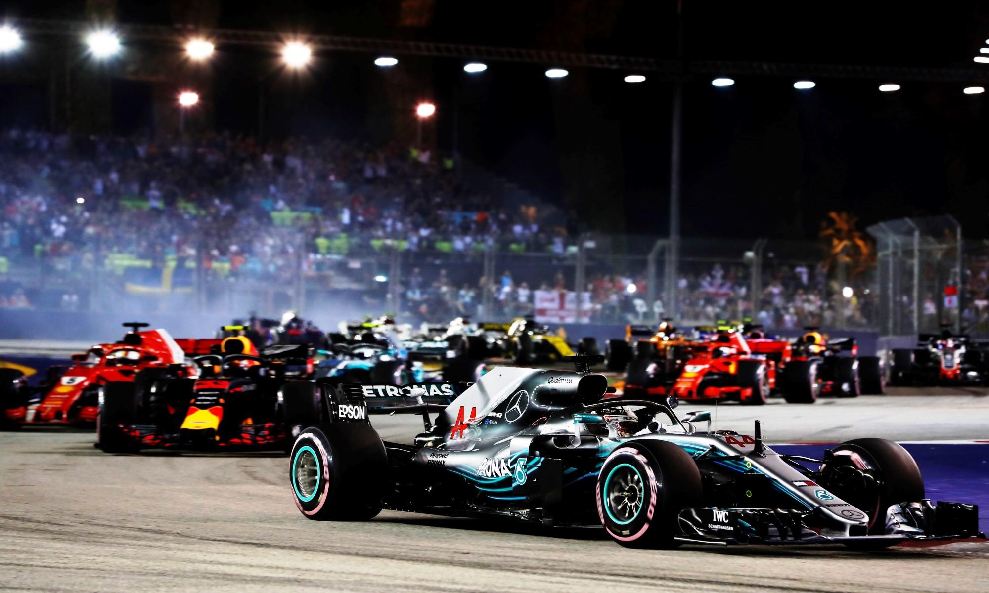 Hamilton led from lap one