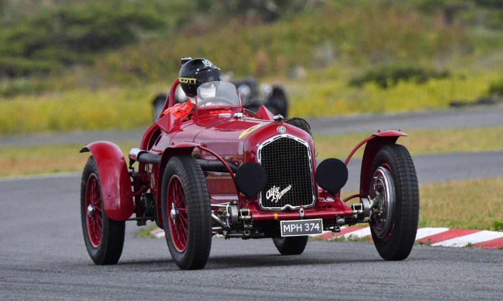 The famous old Alfa Romeo racecar in action