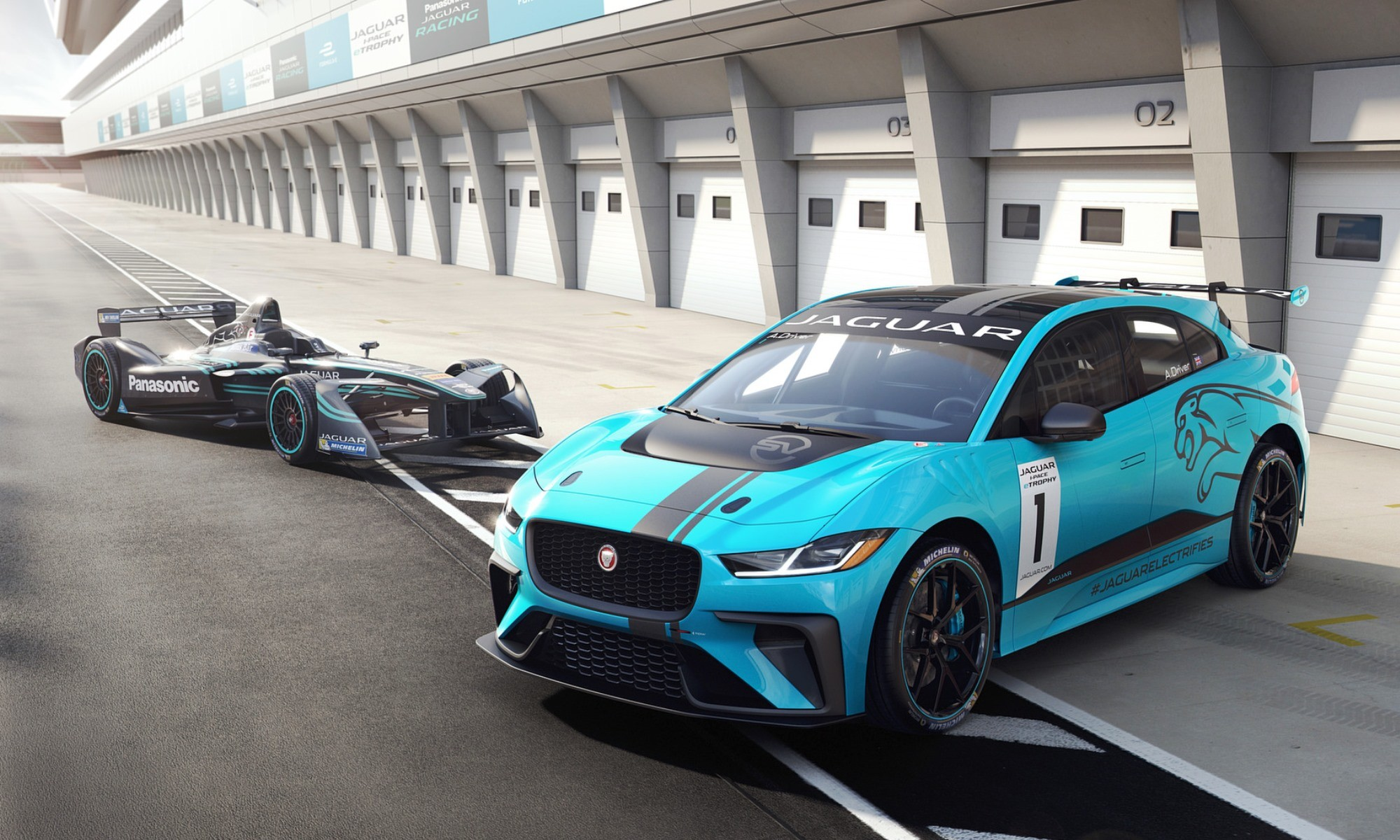 Jaguar I-Pace eTrophy with Formula e car