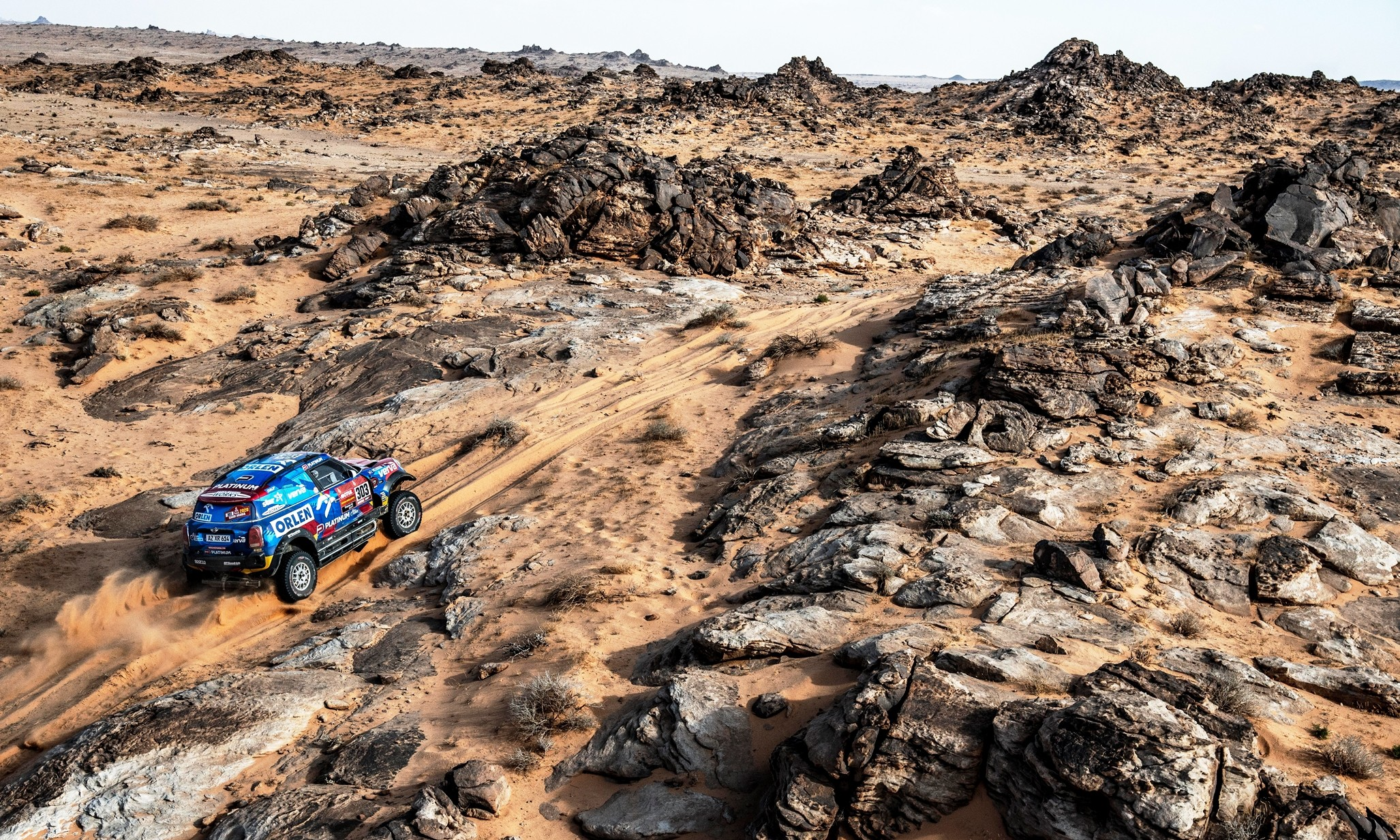 Jakub Przygonski and Timo Gottschalk in the Mini John Cooper Works Rally by Orlen X-Raid Team during Stage 4 of the Dakar 2020 (Photo Charly Lopez for ASO)