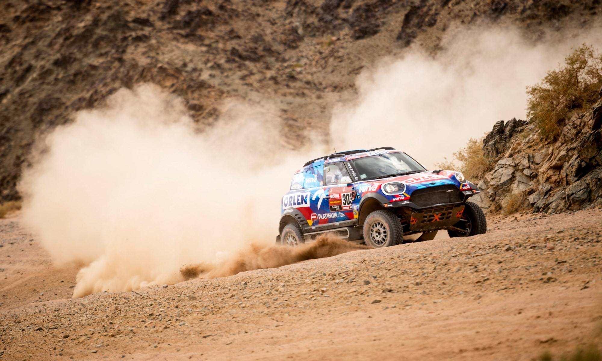 Jakub Przygonski had mechanical problems with his Mini that cost him one and a half hours.