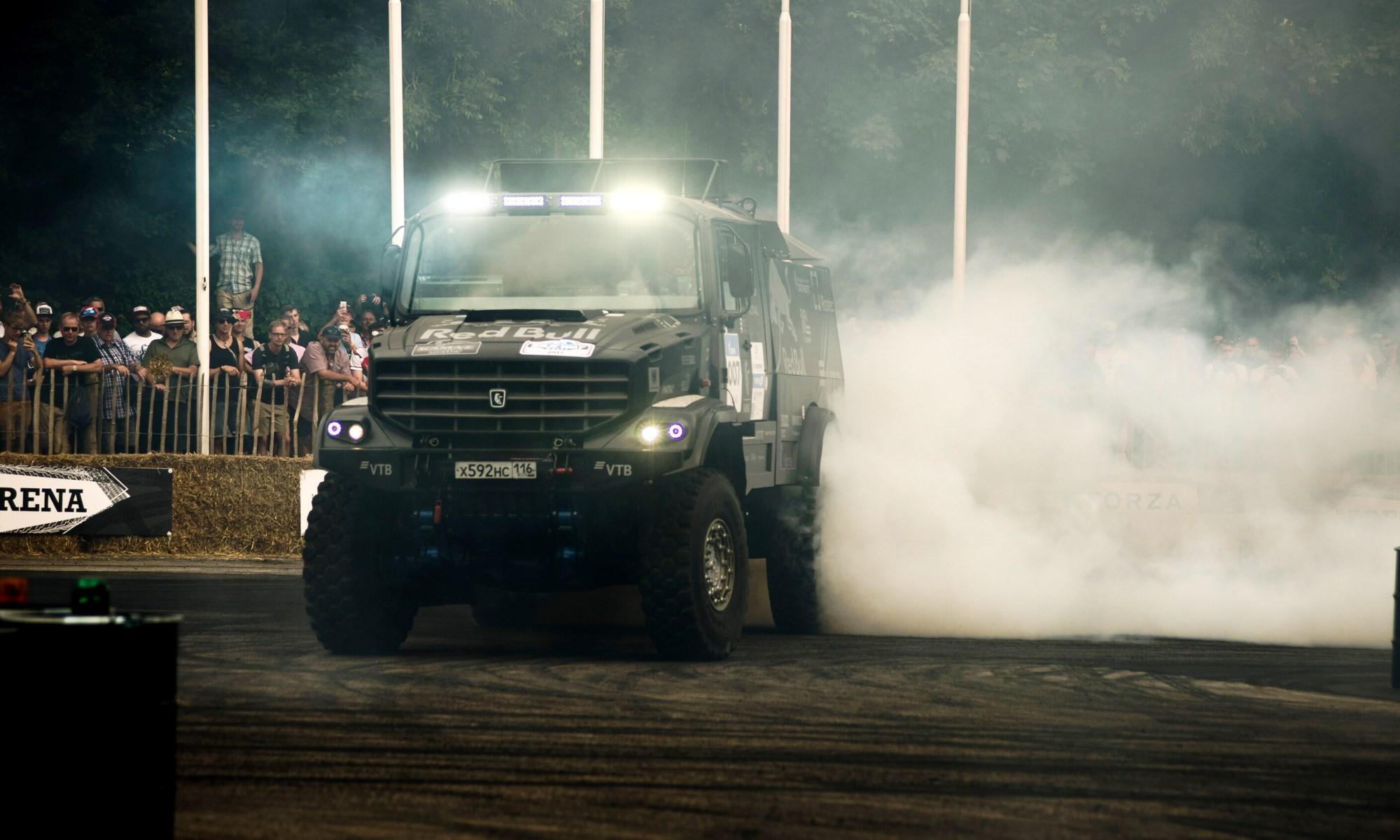 Eduard Nikolaev and the Kamaz truck drift through The Arena at 2019 Goodwood Festival Of Speed