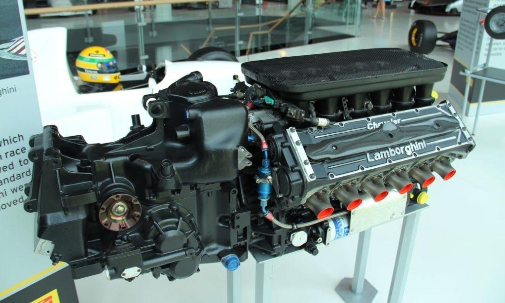 Lamborghini V12 F1 engine as tested by Ayrton Senna