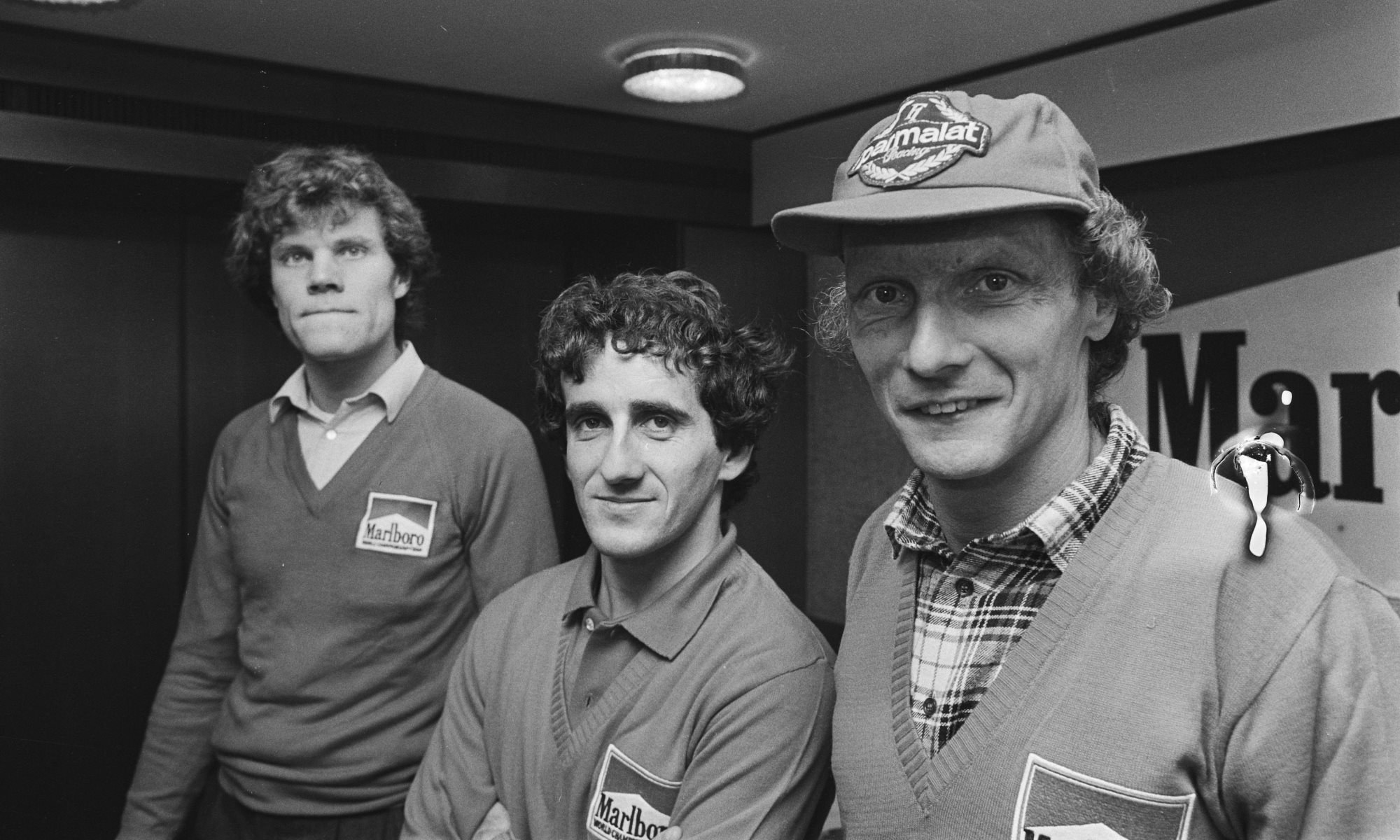 Left to right Huub Rothengatter, Alain Prost and Niki Lauda in 1984