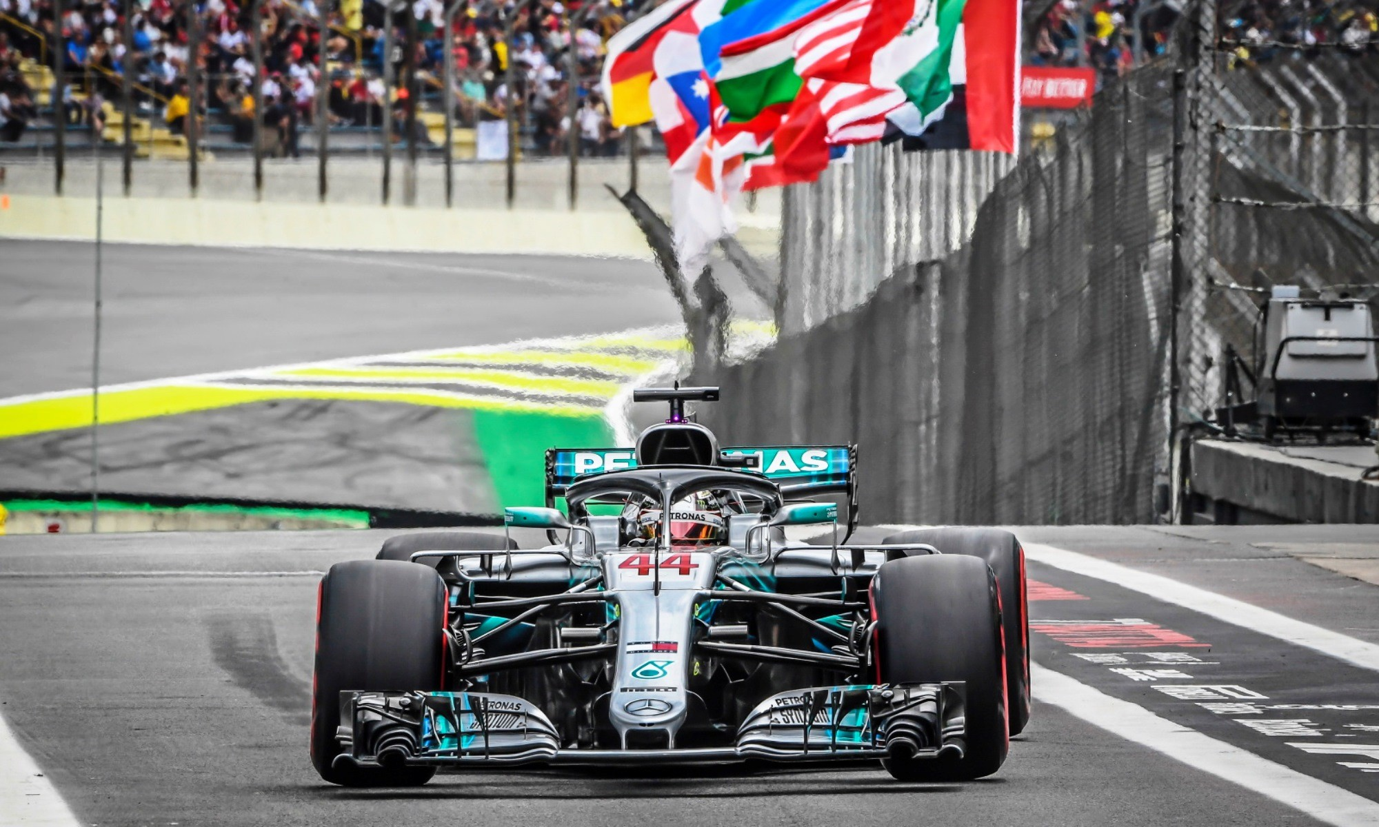 Lewis Hamilton won in Brazil