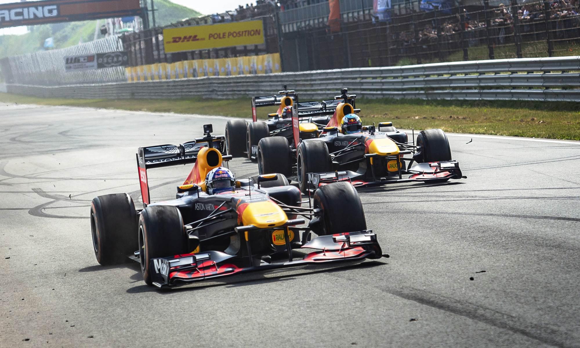 Max Verstappen, Daniel Ricciardo and David Coulthard perform at the Red Bull F1 Showrun at Zandvoort