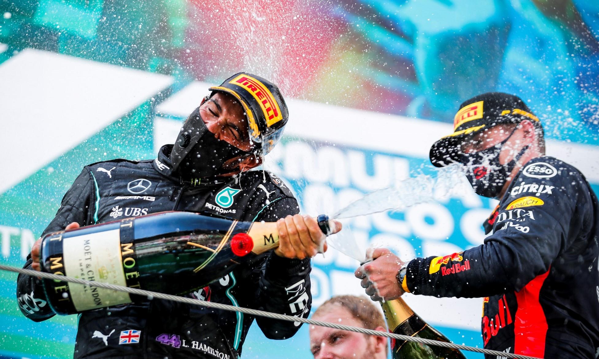 Lewis Hamilton celebrates his 88th F1 victory
