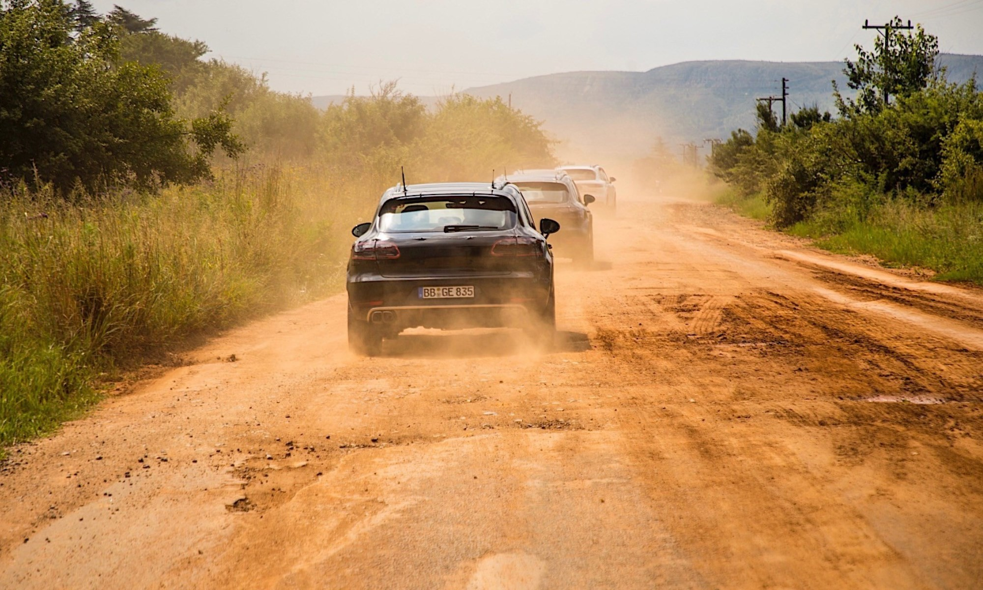 Macan trying out the unpaved roads of SA