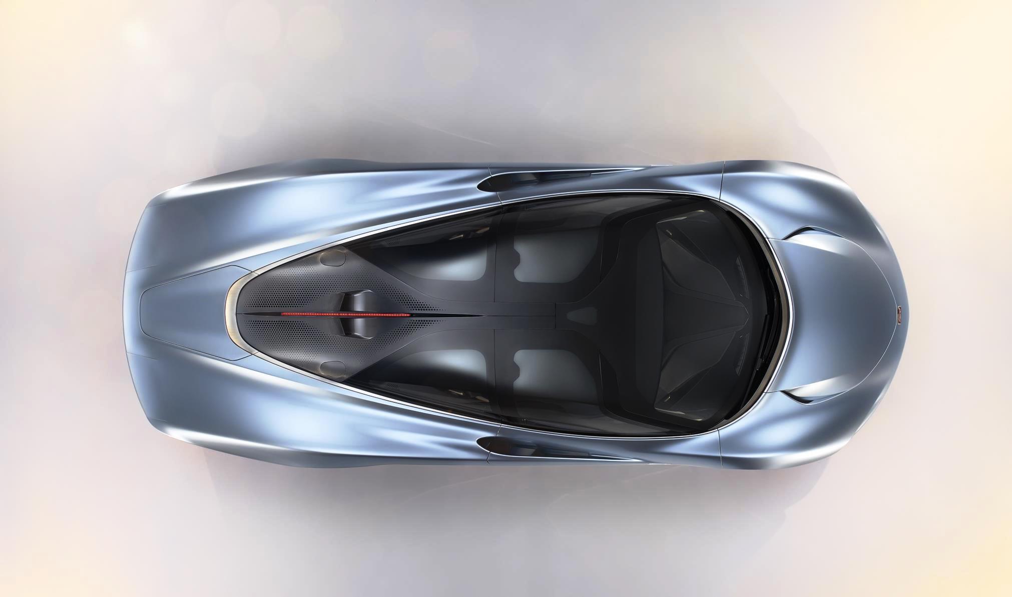 McLaren Speedtail hypercar overhead view
