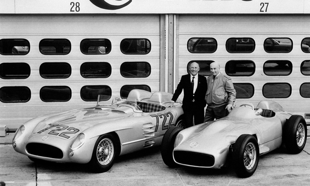 Legendary Mercedes-Benz racing drivers Stirling Moss (left) and Juan Manuel Fangio in 1991 with the 300 SLR (W196S), from the 1955 Mille Miglia, as well as the W196R Formula 1 car.