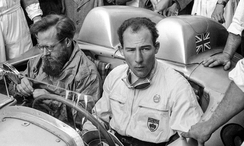 Stirling Moss won the legendary Mille Miglia road race with his co-driver Denis Jenkinson in a Mercedes-Benz racing sports car 300 SLR (W 196 S) in the best ever time achieved.