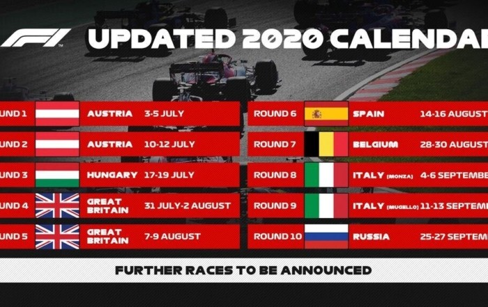 More F1 Races Added to 2020 Calendar 1