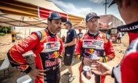 Nasser Al-Attiyah Mathieu Baumel before the start of the final stage