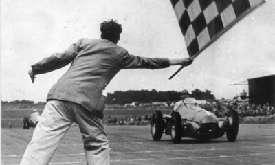 Nino Farina takes the flag in the very first F1 Grand Prix